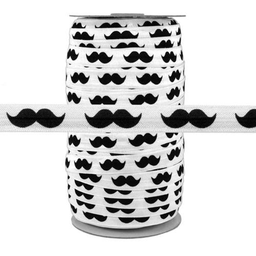 "Black Mustache on White 5/8"" Fold Over Elastic 100yd"