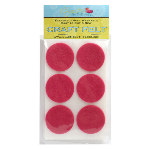 "1 1/2"" Hot Pink Adhesive Felt Circles 48 to 240 Dots"