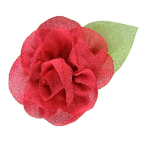 "2.25"" Blossom Flower with Leaf Hot Pink"
