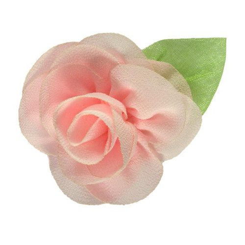 """2.25"""" Blossom Flower with Leaf Baby Pink"""