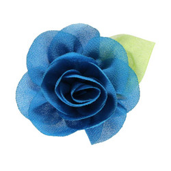 "2.25"" Blossom Flower with Leaf Teal"