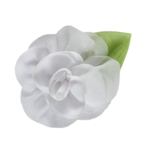 "2.25"" Blossom Flower with Leaf White"