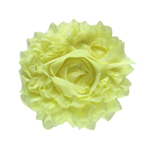 """Pale Yellow 3"""" Sparkle Shabby Flower"""