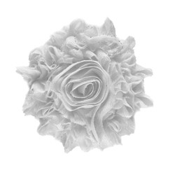 "White 3"" Sparkle Shabby Flower"