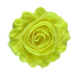 "Neon Yellow 2"" Shabby Rose Flower"