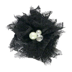 "Black 2"" Lace Bling Flower"