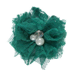 "Kelly Green 2"" Lace Bling Flower"