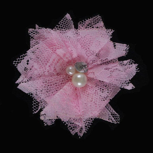 "Baby Pink 2"" Lace Bling Flower"