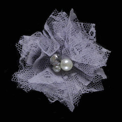"Gray 2"" Lace Bling Flower"