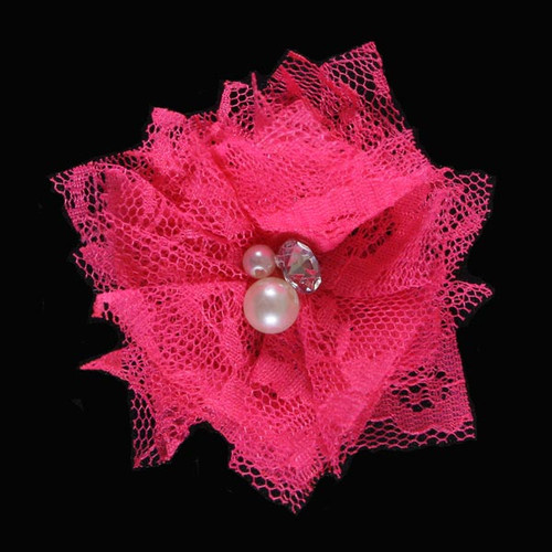 "Hot Pink 2"" Lace Bling Flower"