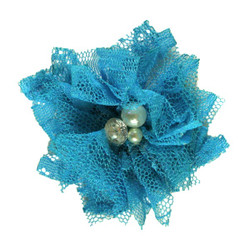 "Teal 2"" Lace Bling Flower"