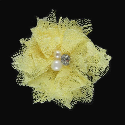 "Yellow 2"" Lace Bling Flower"