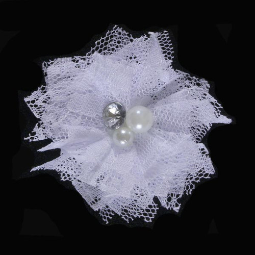 "White 2"" Lace Bling Flower"