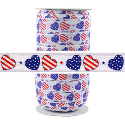 Patriotic Hearts Fold Over Elastic 100yd