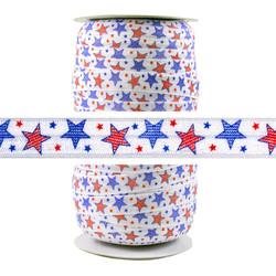 Patriotic Stars Fold Over Elastic 100yd