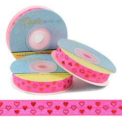 Red Hearts Neon Pink Fold Over Elastic
