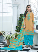 Elegant & Vibrant Beige Colored Cotton Suit