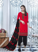 Elegant & Vibrant Red Colored Cotton Suit