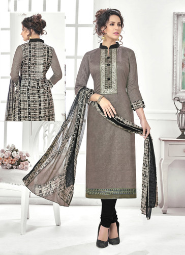 Classy & Timeless Grey & Black Colored Cotton Satin Designer Suit