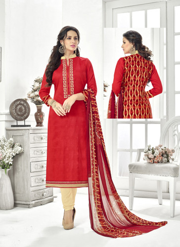 Classy & Timeless Red & Maroon Colored Cotton Satin Suit