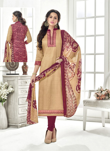 Classy & Timeless Beige & Maroon Colored Cotton Satin Suit