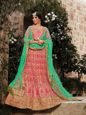 Incredibly Graceful Gajari Colored Net Premium Lehenga