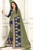Delightful & Classy Green & Blue Colored Chiffon Saree