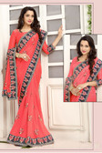 Delightful & Classy Peach Colored Crepe Silk Saree