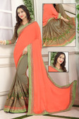 Delightful & Classy Orange & Grey Colored Crepe Silk Saree