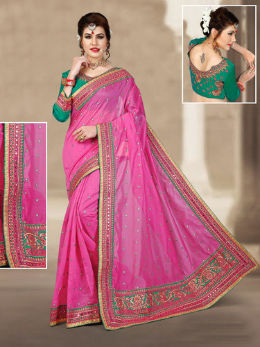 Charming & Vibrant Light Pink Colored Chanderi Silk Saree