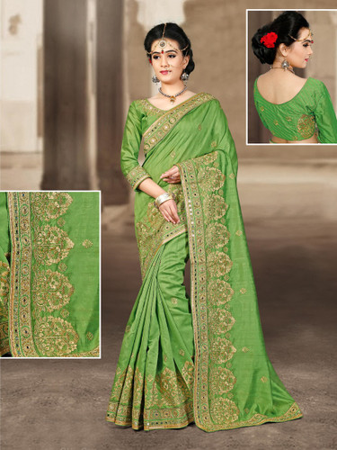 Charming & Vibrant Light Green Colored Bhagalpuri Silk Saree