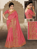 Charming & Vibrant Royal Pink Colored Bhagalpuri Silk Saree