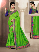 Charming & Vibrant Light Green Colored Blue Cherry Silk Saree