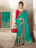 Charming & Vibrant Sky Blue Colored 2 Ton Jaquard Short Silk Saree