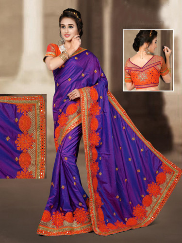 Charming & Vibrant Deep Blue Colored 2 Ton Jaquard Short Silk Saree