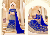 Intricately Crafted Royal Blue & Grey Colored Banglori Silk Lehenga