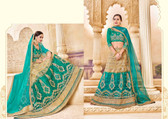 Intricately Crafted Sea Green & Beige Colored Banglori Silk Designer Lehenga