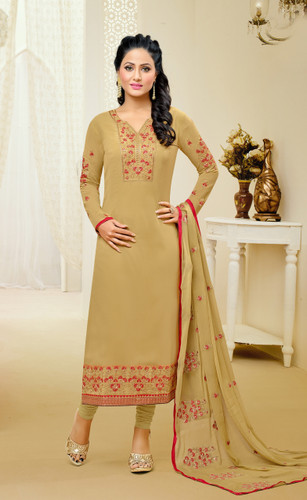 Casual & Colorful Ligth Mahendi Color Faux Georgette Suit