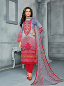 Classy & Elegant Grey & Red Colored Cotton Satin Suit