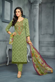 Classy & Elegant Light Green Colored Cotton Satin Suit