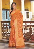 Elegant & Colorful Rust Colored Art Silk Premium Saree