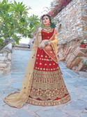 Glamorous & Exquisitely Crafted Maroon Colored  Heavy Designer Lehenga In Net