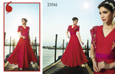 Beautifully Elegant Red Colored Silk Satin Gown