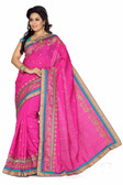 Stylish & Casual Pink Colored Bhagalpuri Silk Saree