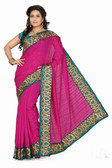 Stylish & Casual Rani Colored Bhagalpuri Silk Saree