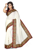 Stylish & Casual White Colored Bhagalpuri Silk Saree