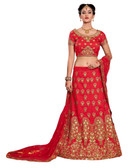 Gorgeous & Vibrant Red Colored Mulberry Silk Designer Lehenga