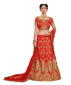 Gorgeous & Vibrant Red Colored Mulberry Silk Fabric Designer Lehenga