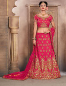 Gorgeous & Vibrant Pink Colored Mulberry Silk Fabric Designer Lehenga