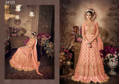 Magnificently Crafted Peach Colored Heavy Net Designer Semi Stitched Suit